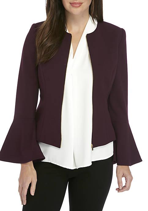Calvin Klein Zip Front Bell Sleeve Jacket