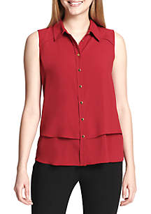 Sleeveless Button Front Top