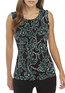 Sleeveless Pleat Neck Floral Top