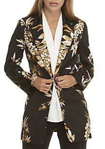 2 Button Floral Print Jacket