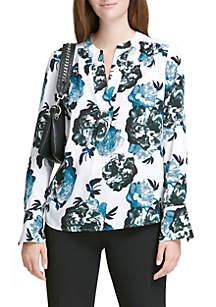 Long Sleeve V-Neck Floral Printed Top
