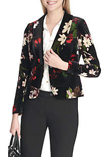 Velvet Floral Print Jacket