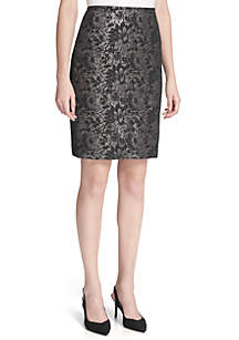 Jacquard Straight Skirt