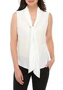 f5b095b1329b6 Calvin Klein Geometric Ruched Top · Calvin Klein Sleeveless Tie Front Blouse