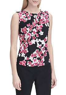 Sleeveless Floral Print Pleat Neck Cami