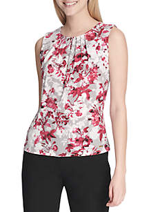 Sleeveless Pleat Neck Floral Print Top