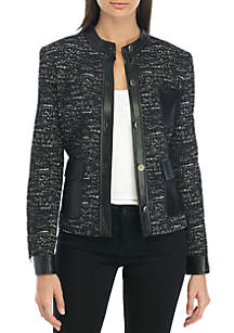Button Jacket with Faux Leather Trim