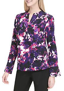 Long Sleeve Floral Print V-Neck Top