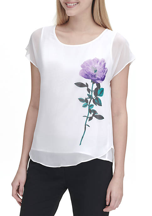 Cap Sleeve Blouse with Side Flower
