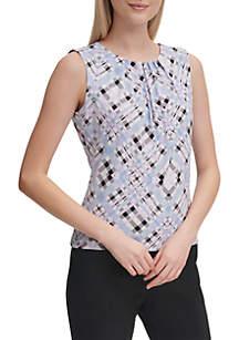 Calvin Klein Sleeveless Plaid Pleat Neck Cami