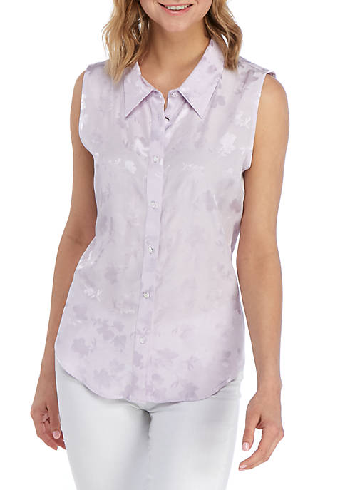 Calvin Klein Sleeveless Textured Jacquard Top