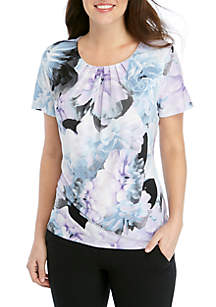 Calvin Klein Short Sleeve Floral Pleated Neck Top