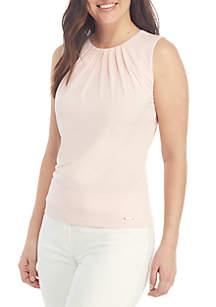 Calvin Klein Sleeveless Pleat Neck Solid Cami