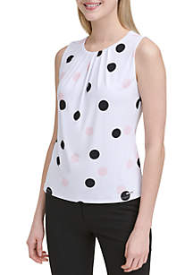 Calvin Klein Sleeveless Polka Dot Pleat Neck Tank