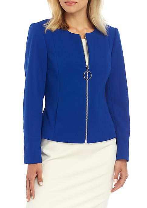 Solid Zip Front Jacket