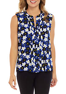 Calvin Klein Sleeveless Floral Pleat Front Top