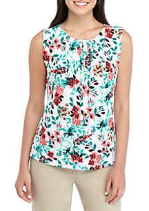 d39b6e374e10bd ... Calvin Klein Sleeveless Tropical Print Pleat Neck Top