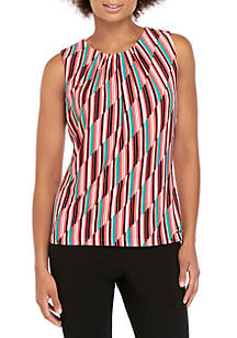 1079f377465f9d Calvin Klein Short Sleeve Gingham Midi Cotton Dress · Calvin Klein  Sleeveless Graphic Print Pleat Neck Top