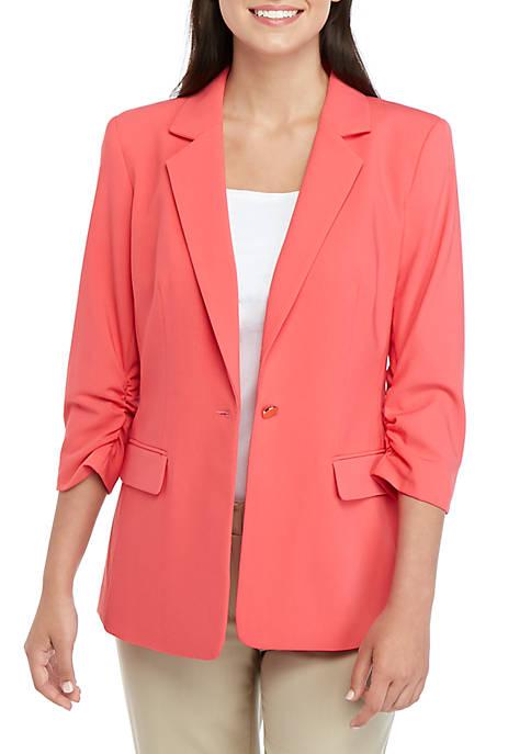 1 Button Cinch Sleeve Jacket