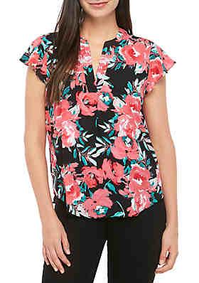 d6d3c889e7b503 Calvin Klein Flutter Sleeve Floral V Neck Top ...