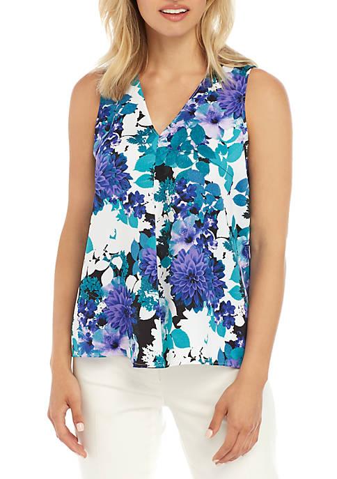 Calvin Klein Sleeveless Floral Print Woven Top