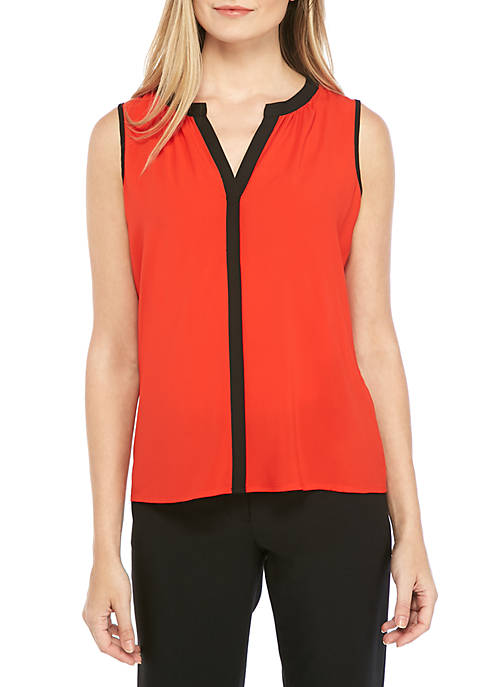 Sleeveless Tipped V Neck Woven Top
