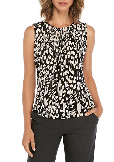 Calvin Klein Sleeveless Dot Print Pleat Neck Cami