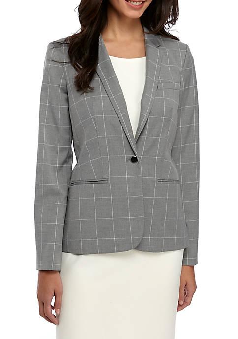 1 Button Windowpane Jacket