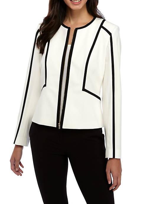 Calvin Klein Contrast Trim Zip Front Jacket