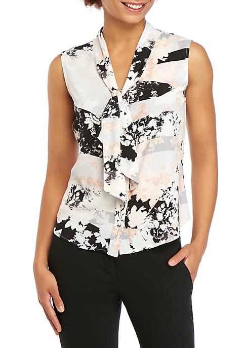 Calvin Klein Sleeveless Abstract Tie Neck Top