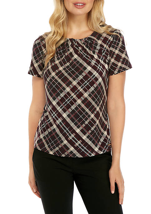 Calvin Klein Short Sleeve Diagonal Plaid Knit Top