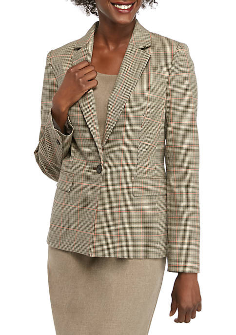 Womens Windowpane Plaid 1 Button Jacket