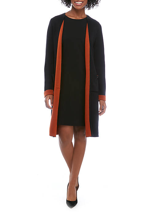 Womens Long Contrast Open Cardigan