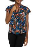 Womens Short Sleeve Split V Neck Floral Top