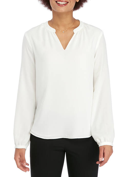 Calvin Klein Womens Long Sleeve V Neck Woven