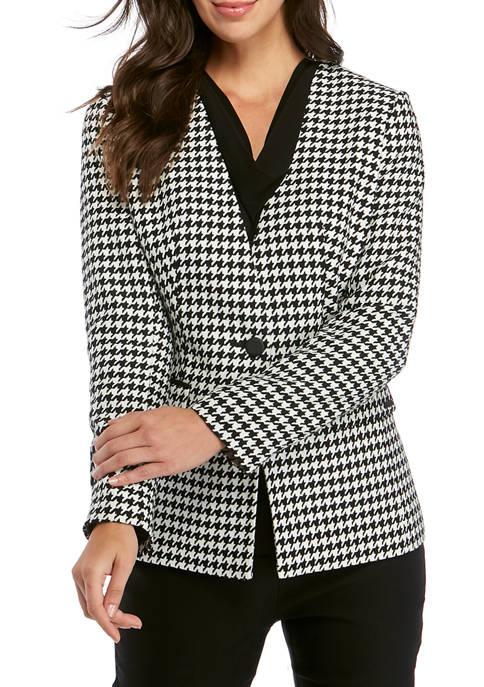 Calvin Klein Womens 1 Button Houndstooth Jacket