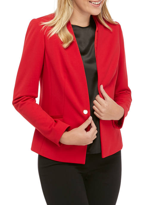 Calvin Klein Womens 1 Button Collarless Jacket