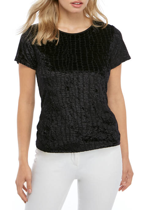 Womens Short Sleeve Textured Crew Neck Top