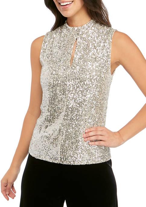 Calvin Klein Womens Sleeveless Sequin Mock Neck Blouse