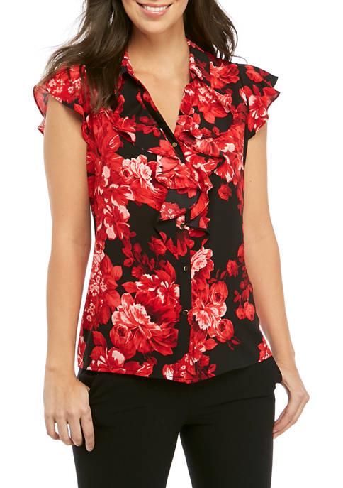 Short Cap Sleeve Floral Blouse