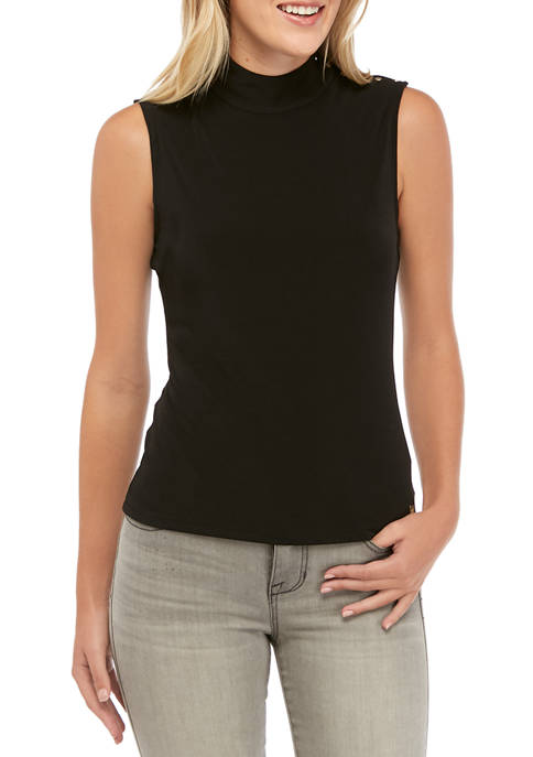 Calvin Klein Womens Sleeveless Mock Neck Tank with