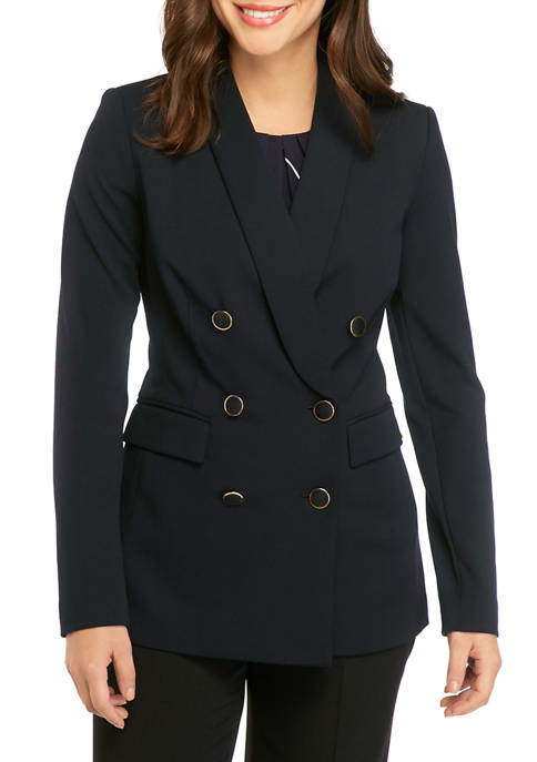 Calvin Klein Womens Knit Double Button Front Jacket