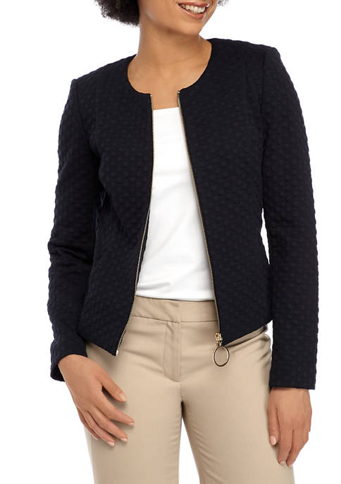 Calvin Klein Womens Woven Dot Zip Jacket