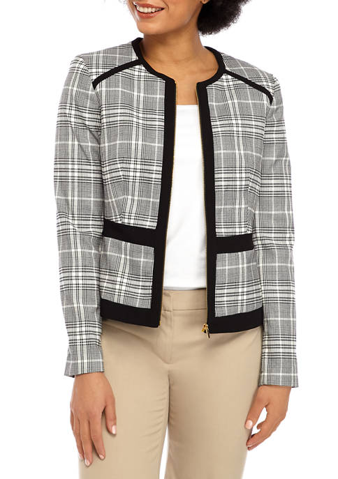 Calvin Klein Womens Plaid Contrast Trim Zip Jacket