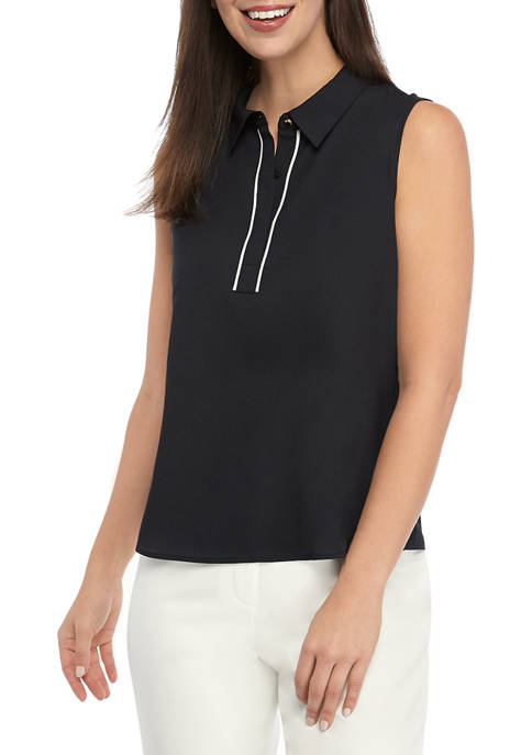 Calvin Klein Womens Sleeveless Piped Collared Woven Blouse