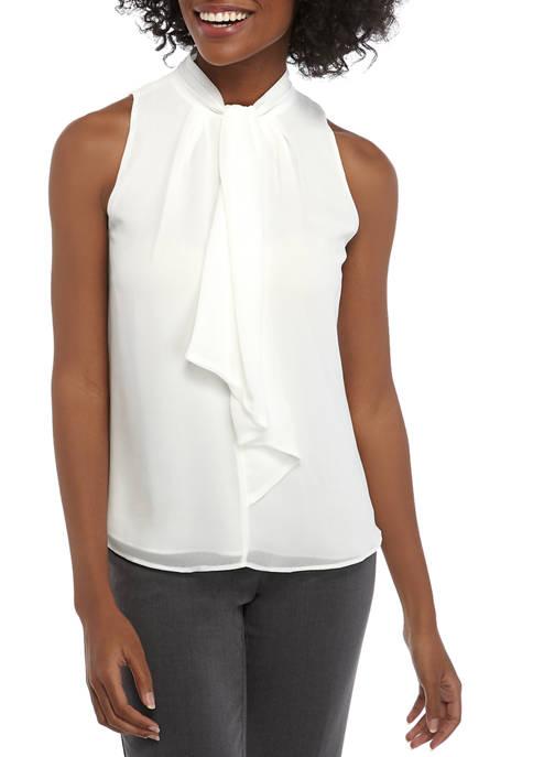 Calvin Klein Womens Sleeveless Tie Mock Neck Top