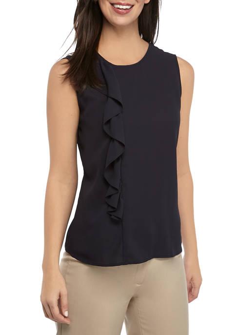 Calvin Klein Womens Sleeveless Ruffle Front Top