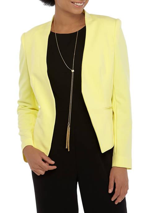 Calvin Klein Womens Asymmetrical Scuba Crepe Jacket