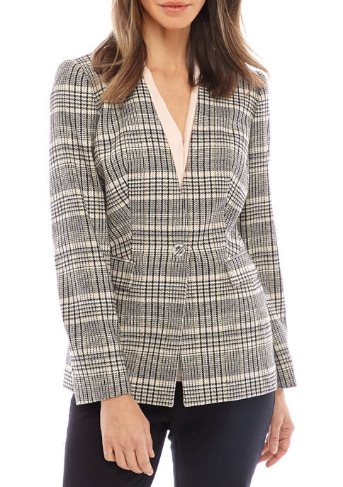 Calvin Klein Womens Plaid Toggle Front Woven Jacket