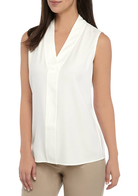 Calvin Klein Womens Sleeveless V Neck Woven Blouse